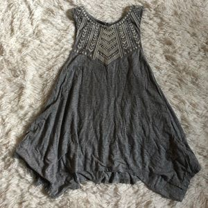 Gray High Neck Tank Top with Embroidery On Mesh
